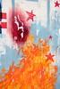 C215 - Rue de Thionville 19è (un oeil qui traîne) Tags: street red urban streetart paris france art collage print poster rouge stencil paint peinture affichage carf 75 arrondissement affiche guilherme graffitis affiches childrenatriskfoundation c215 19è