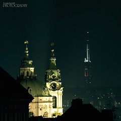 After many years (pavel conka) Tags: old light tower castle modern night contrast digital canon eos tv raw nightly republic view czech prague prag praha praga contradiction opposition pavel 30d strana zizkov mal vysla mikul non svat gegensatz v mywinners superbmasterpiece diamondclassphotographer conka ikovsk