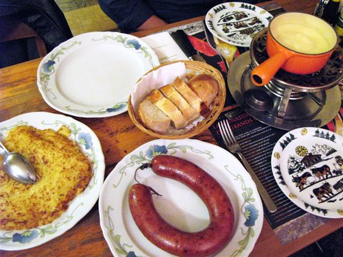 fondue, sausage, and roesti