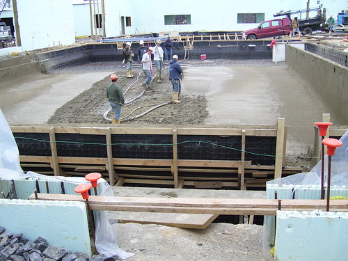 The concrete is poured in the competition pool