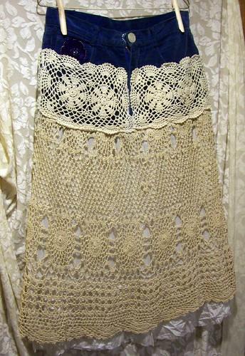 Handmade OOAK Deconstructed Crocheted Bohemian Skirt