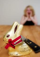 Day 84 (JeffOliver) Tags: rabbit bunny easter milk chopper chocolate knife blonde monday britney 2403 lindt sabatier 366
