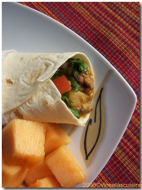 Burritto with fresh cut cantaloupe