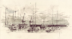 Port de Morges (Flaf) Tags: france mountains alps colour water port pencil schweiz see frankreich ship suisse harbour drawing towers lac lman morges genfer aquarell