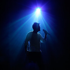 Donny Silhouette in Blue (JeremyHall) Tags: blue summer music osmond silhouette person concert tour 10 united kingdom spotlight explore sing ok donny donnyosmond blueribbonwinner uksummernightstour