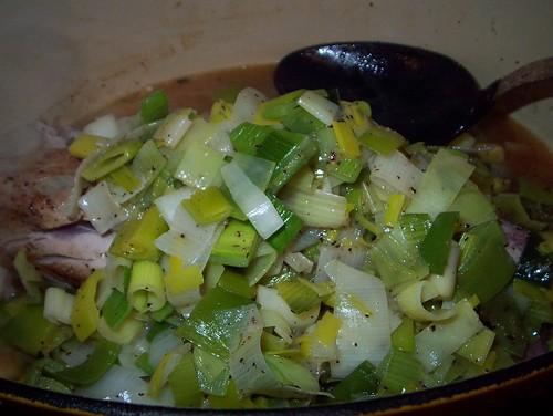 roasting pork and leeks