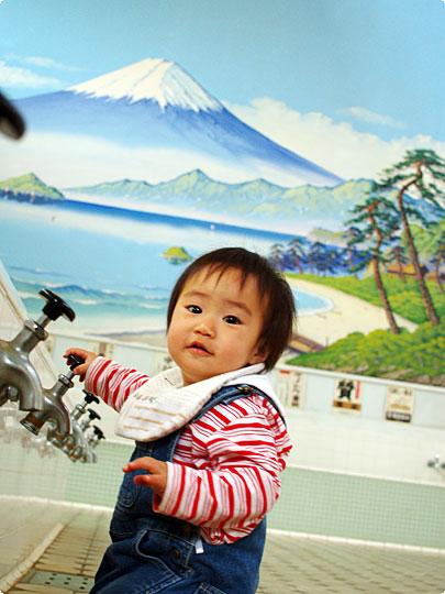銭湯には富士山!