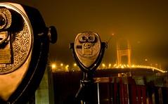 Have A Peak (Justin Korn) Tags: sanfrancisco longexposure bridge fog night view foggy binoculars telescope goldengatebridge abigfave
