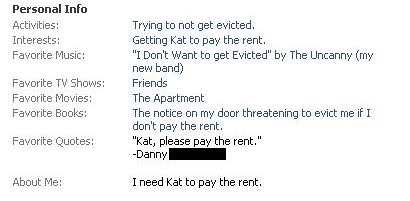 About me: I need Kat to pay the rent.