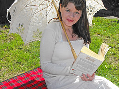 Sense & Sensibility II (Nic Temby) Tags: portrait woman selfportrait girl self book backyard parasol 365 nic 52weeks 365days sensesensibility picnicrug nictemby