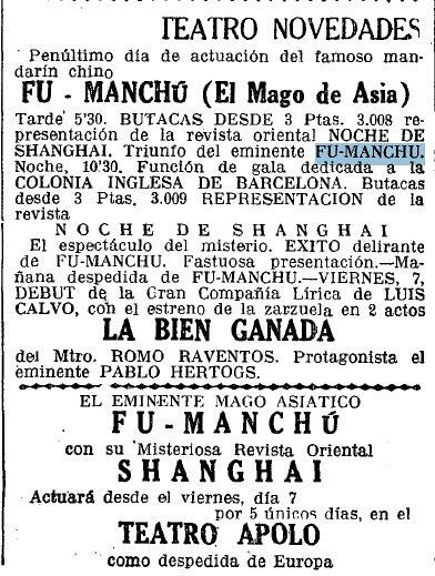 Fu-Manchú en Barcelona 4 septiembre 1934