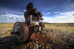 Rusty Engine (lowbattery) Tags: old sky beach grass metal clouds rust machine pebbles hut bolt dungeness marsh nut hdr romney unused superhearts