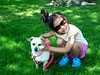 Little girl and her dog (amcrosby) Tags: pink blue dog pet pets black cute green girl smile grass sunglasses kids pose hair fun kid shoes little sweet small leash hold