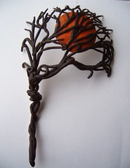 Hallowed-mask (gabriel studios) Tags: red orange moon black tree halloween mask polymerclay masquerade accessories etsy filigree polymer pcagoe michelegabrielstudios