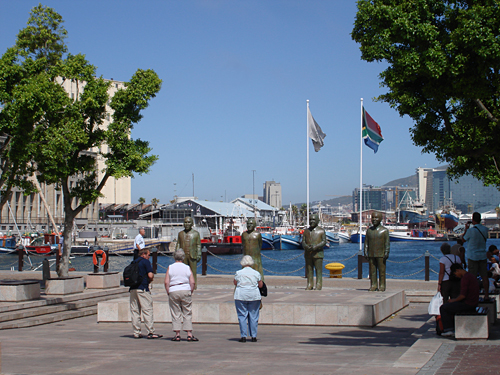 Tourists at Nobel Square, Waterfront, Cape Town