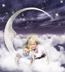 Brother & Sister Angels (Cytosue) Tags: baby moon girl sparkles clouds photoshop wings angels montage magical glittery soe halos brothersister