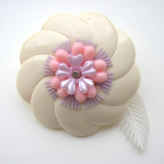 Cream, Pink and Purple Vintage Flowers Brooch