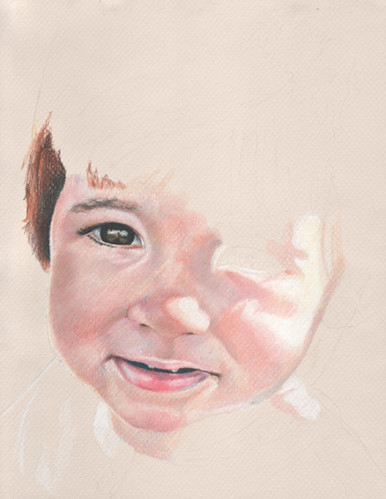 In progress scan of colored pencil portrait entitled Clara at 17 Months