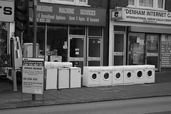 incident with the washing machines (ultraBobban) Tags: life white black london sign yellow village south police washing sydenham maching se26