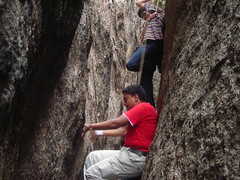 Gunda chimney climbing (aanjhan) Tags: trekking bangalore rappelling rbin ramnagar chimneyclimbing