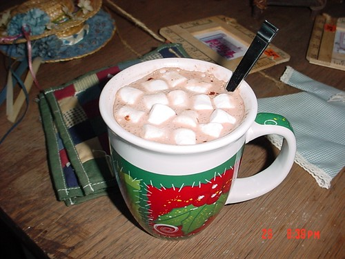 hot chocolate in Christmas mug sized