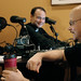 Father Roderick Vonhögen, CEO of SQPN, from Holland and Greg Willits, Rosary Army, share a lighter moment while preparing for the joint Podcast.