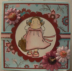 Flower girl with Magnolia stamps