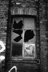 Window (sjs.sheffield) Tags: urban bw broken window glass blackwhite grafitti decay sheffield smashed johnstreet sjssheffield