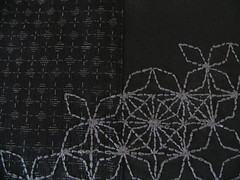 sashiko embroidery (assemblage) Tags: black vintage japanese grey handmade embroidery assemblage fabric charcoal sashiko handsewing japanesecouture bengaline
