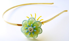 Blue, Yellow and Green Vintage Flowers Headband