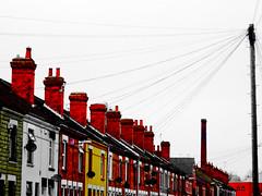 Terraces / Chimney / Mosque (Nicobobinus) Tags: houses england terraces row innercity coventry warwickshire tinkered cambridgestreet lightroom terraced cv1