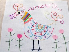 It's SPRING! (a n a ) Tags: bird primavera cores spring colours embroidery wip pssaro bordado