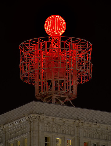 Red Beacon at night, in downtown Saint Louis, Missouri, USA
