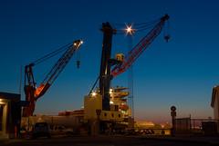 Night Shift (dans le grand bleu) Tags: night port work denmark dock ship harbour crane vessel northsea bluehour esbjerg pentaxk10d esbjergharbour bluewatershipping
