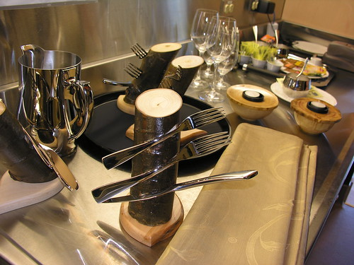 fork fork knife tree trunk (anniedaisybaby) Tags: tourism kitchen resort manitoba spa interlake worththetrip heclaisland mikley culinaryprep heclaoasisresort treetrunkcutlery stephanethierry