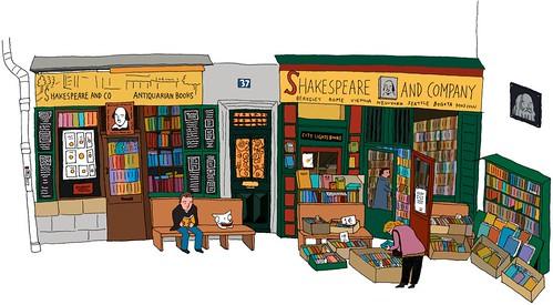 現在的莎士比亞書店(手繪by雪貓)