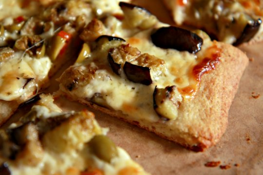 Eggplant & Green Olive Pizza Header 2