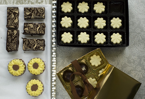 Tea-infused chocolates selection hand made artisan bonbons dark white milk chocolate earl grey tea infuse