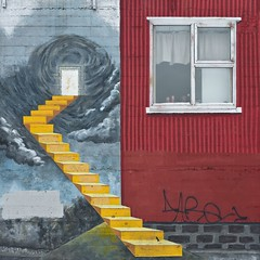 Yellow Steps (Magic Pea) Tags: red urban streetart vortex building art window yellow wall photography photo iceland colours grafitti tag steps dramatic reykjavik stairwell colourful bold magicpea