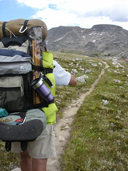 "On The Beaten Path - That's actually the name of this trail deep in the Beartooth Wilderness near Yellowstone Park.  ""Fish"" sports his Double Shot with it's new carabiner-friendly handle."