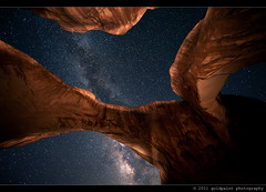 Galileo's Muse (Goldpaint Photography) Tags: usa lightpainting utah sandstone arches galaxy astrophotography moab astronomy nightsky archesnationalpark starrynight milkyway doublearch earthandspace widefieldastrophotography goldpaintphotography competition:astrophoto=2012