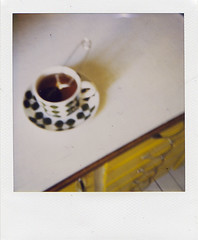 (sandra juto) Tags: blur home cup kitchen yellow polaroid tea 600 overexposed saucer earlgrey fika stiglindberg bers myeverydaylife