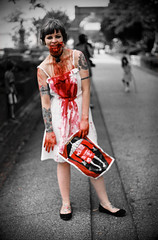 Zombies Like Music, Too (BW) (Karla Jean Davis) Tags: atlanta music rock zombie undead musicvideo productionstills girlbands indiefilm bloodthecoathangers