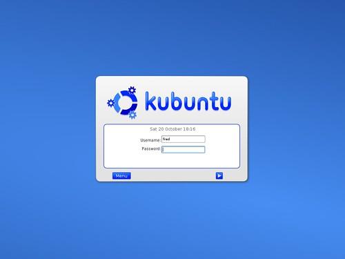L'écran de connexion de  Kubuntu Linux 6.06.1 LTS