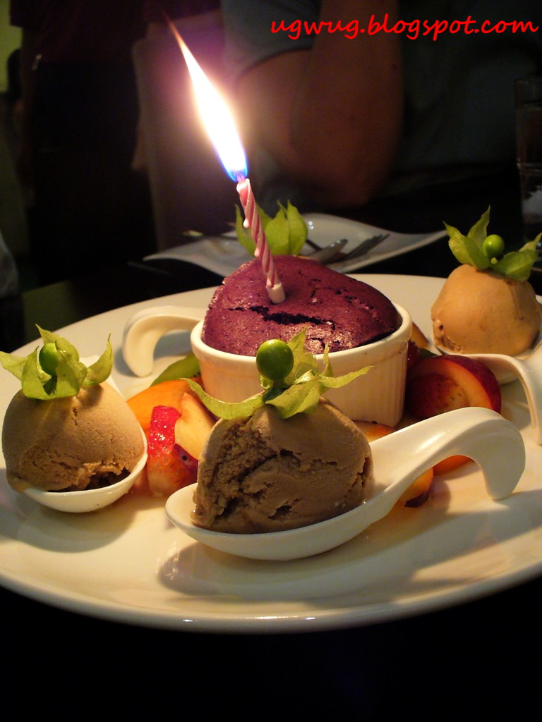 Chocolate Souffle with Latte Ice Cream