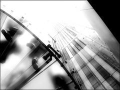 Staircase (ZinBoy) Tags: bw newyork apple glass manhattan applestore midtown staircase cube upwards