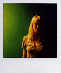 Green (~KIM~) Tags: portrait green girl polaroid bathroom jessica 600 slr680 madonnainn 680 insurgentmuse