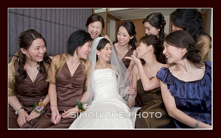 happy moment with all the bridesmaids