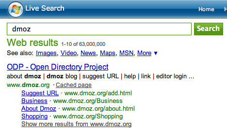 Live Search Site Links