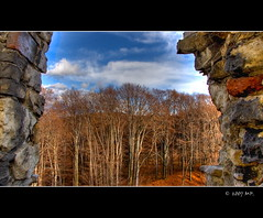 A View of the  Castle Window (Mariusz Petelicki) Tags: autumn castle window poland polska hdr okno jesie zamek lipowiec golddragon babice canon400d wygiezw aplusphoto superbmasterpiece diamondclassphotographer mariuszpetelicki